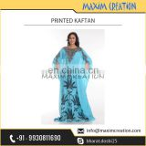 Elegant Blue Printed High Quality Kaftan with Large Flower Designs