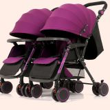 High-view and detachable seating baby stroller easy to foldable can set and lie Twin stroller