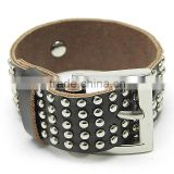 Custom metal retro casual leather bracelet genuine first layer leather wrist bands punk style leather bracelet
