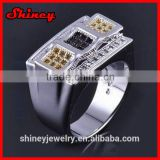 2014 high quality factory design micro pave cz new model islamic silver rings for muslim men