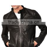 BICEPS ZIPPER QUILTED LEATHER BIKER JACKET