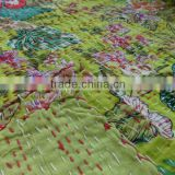 Printed Cotton Quilt, Handmade Queen Size Kantha Bedspread, Reversible Kantha Bedding, Beautiful Floral & Leaf Pattern