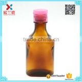 100ml flat amber oral liquid glass bottle hot sale