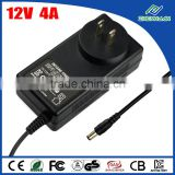 Wall type led power supply 12V 4A poe adapter with KC CE FCC SAA approved