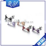 colored surgical zircon studs piercing bow-tie shape ear piercing jewelry