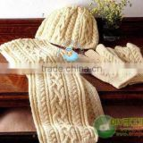 Beautiful winter knitted hat gloves and scarf set