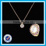 Artificial crystal gold ring necklace 2pcs set bijoux dubai