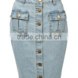 new models Womens High Waisted Denim Pencil Skirt with Stretch button jeans skirts