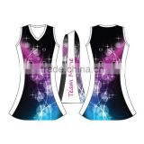 High quality popular full sublimation shiny netball uniform bodysuit