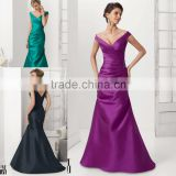 HA-014 2015 Sexy Trumpet V-Neck Ruched Stain Celebrate Dress A-Line Ruched Beaded Prom Quinceanera Dress