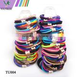 Double -strand PonyTail Elastic Hair Band Tie Rope Ring Rubber Ponytail Holder with gold tone charm