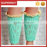 A-183 lace trim boot socks cuffs ruffle lacy knitted boot toppers open knit boot cuffs lace