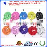 Flat Noodle Type Fabric Nylon Woven Micro USB Bungee Sync Charging Cord For Android Phones&iPhone 4/iPhone 5/iPhone 6