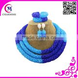 Newest design christmas little girl chunky beads necklace jewelry sets with flower brooch