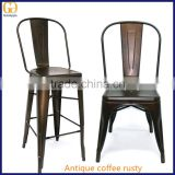 Antique industrial coffee rusty color tolis dining chair, brownish gun metal marais high bar chair