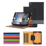 Cow leather tablet case, documents pouch style flip stand PU leather case for ipad mini4