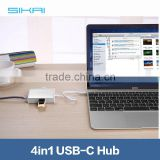 For USB Type-C Laptop For New MacBook Chrome Book Pixel 2 USB 3.0 Type C Hub Support Charging and Internet