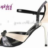 black and pink leather ladies 10cm heel tango dance shoes