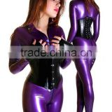 sexy metalic purple natural latex catsuit with front zipper under crotch sent lingerie plus size Hot sale
