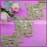 China manufacturer High quality Embroidered Chemical swiss beaded trimming crochet for garment