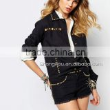 China Supplier Wholesale Clothing Embellished Black Denim Jacket Hand Wash Cotton Women Clothes SK091