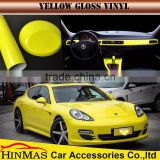Gloss car sticker for changing cars body color gold and yellow colour vinyl wrap