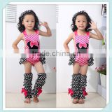 Lovely Outfit Baby Girl Bodysuit and Leg Warmers Halter Tie Polka Dots Sleeveless Bodysuit and Leg Warmers Set Wholesale