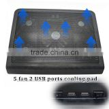 "cheap hot selling 220V cooling fan ,laptop cooling pad,2 USB HUB notebook cooling pad FOR 15 17"" LAPTOP Notebook"