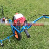 High quality Hand push type with tyre brush cutter/Wheat Harvester 40.2 cc mini rice harvester/brush cutter