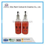 2Pieces Smile Face Metal Coat Glass Oil Vinegar Bottles with Metal Dispenser