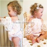S33629W Summer 2017 Infant Baby Girl Flower Lace Butterfly sleeves Romper Sunsuit Jumpsuit
