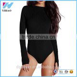 Basic Round Neck Ribbed Body suits Women Black Long Sleeve Bodysuit Custom 2016 latest designs ladies black knitted sweater