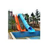 Colorful Swimming Pool Water Slides , Aqua Park Equipment Barrel / Sledge Slide games