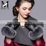 Genuine Sheepskin Leather Gloves Real Fox Fur Cuffs Gloves for Women Winter Leather Glove