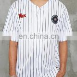 custom mens stripe with pattern sublimated baseball jersey