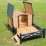 Wooden Dog House with Patio