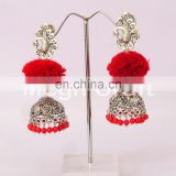 Designer Pom Pom With Tribal oxidized silver plated jhumki earrings -Antique Silver Plated Pom Pom Jhumka Earrings