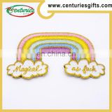 Gold metallic thread Iron backing hot cut or stitched border patches, custome design are welcome
