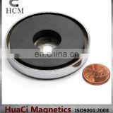 "50 LB Holding Power Ceramic Cup Magnet 2.4"" Magnetic Round Base"