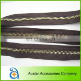 Brown metal zipper for garment accessories