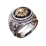Thai Sterling Silver Brass 2 Tone Sunlight Engraved Retro Men Ring (059186)