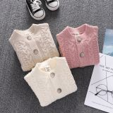 Long-sleeved female baby high-end walker clothes solid color newborn baby button clothes baby sweater