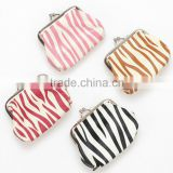 New zebra pattern clasp clip lock purse bag