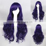 High Quality 80cm Long Curly Dark Purple Synthetic Anime Lolita Wig