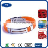 most popular items metal adjustable Cheap silicone wristband custom