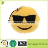 Custom Lovely Emoji Smiley Emoticon Yellow Round Cushion Stuffed Plush Toy Doll Key Chain