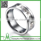 High quality tungsten jewelry dubai ring for men Valentines Gift engraved logo ring love font