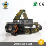JF ABS Focused light T6 led zoomable head flashlight