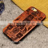 High quality wooden cell phone case for iphone 6s/plus, engraving cell phone case                                                                                                         Supplier's Choice