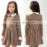 School Uniforms Ruffled Pique Long Sleeve Dress Girls Tunic Students Children Apparel OEM ODM Type Manufacture Factory Guangzhou